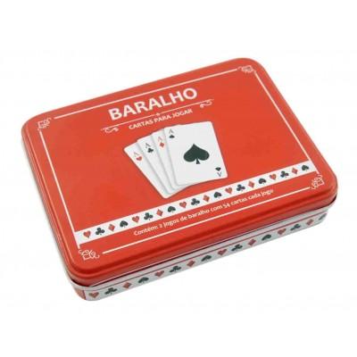 JOGO DE BARALHO NA LATA 02 JOGOS DE 54 CARTAS PLASTICA CADA - LATA VERMELHA- IM42030-VM