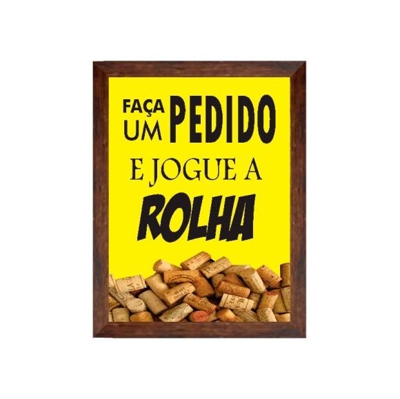 PORTA ROLHAS FAÇA UM PEDIDO E JOGUE A ROLHA COR AMARELO 20 X 25 CM