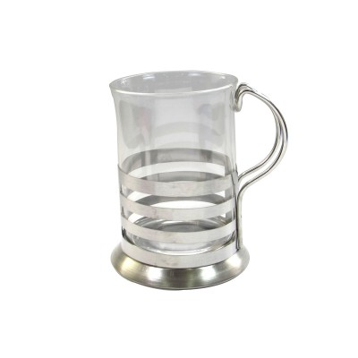 XICARA EM VIDRO E INOX ESTAMPA COFFE 200 ML - NS2146-B
