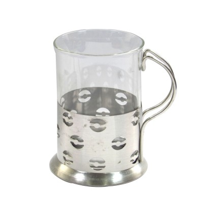 XICARA EM VIDRO E INOX ESTAMPA COFFE 200 ML - NS2146-D