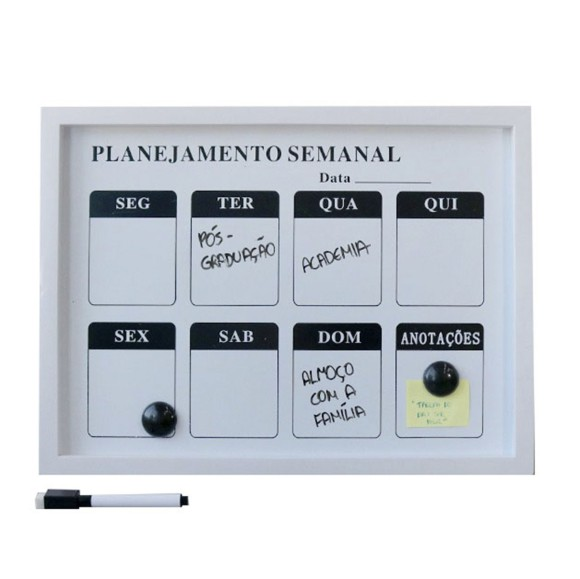 LOUSA MAGNÉTICA DE PLÁSTICO PLANEJAMENTO SEMANAL - 30X40CM  - 92805-BR