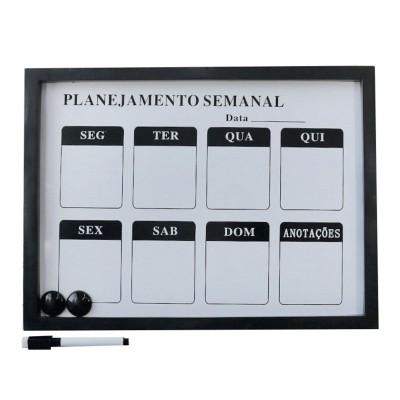 LOUSA MAGNÉTICA DE PLÁSTICO PLANEJAMENTO SEMANAL - 30X40CM  - 92805-PT