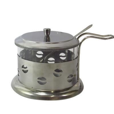 ACUCAREIRO VIDRO E INOX COM COLHER - 250 ML - NS1369-B