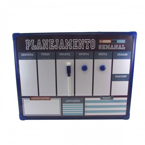 LOUSA MAGNÉTICA DE PLÁSTICO PLANNER SEMANAL - 40CM  - HE66316- AZ