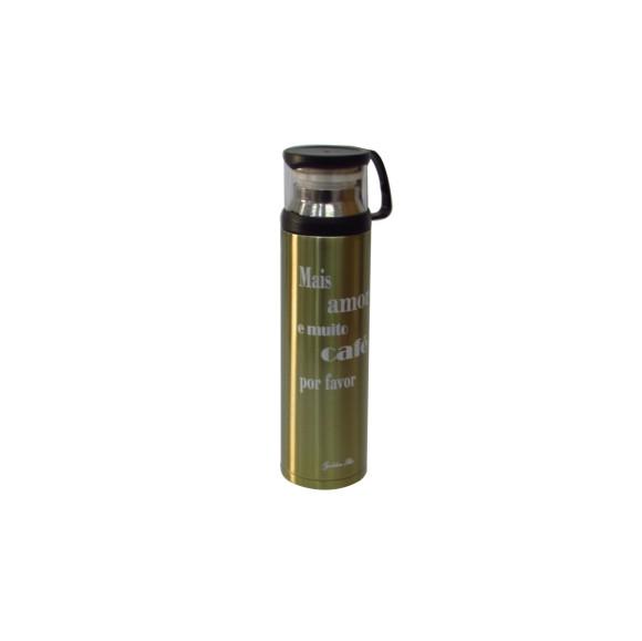 GARRAFA ISOTÉRMICA DE INOX COM FRASE E TAMPA COM COPO PARA SERVIR- 450 ML - GDR0085-DOU1