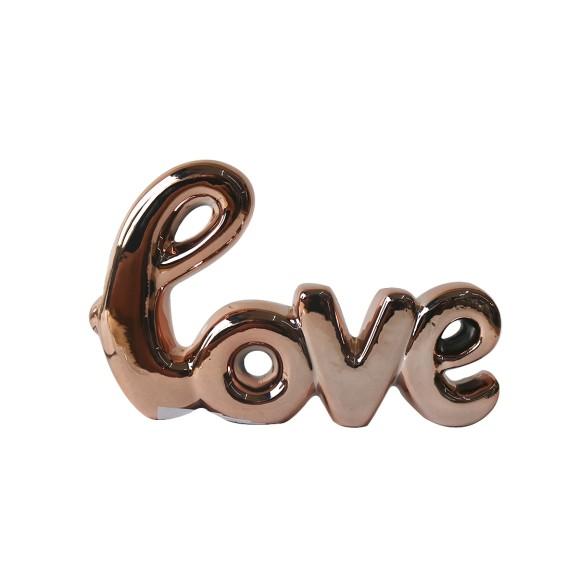 ENFEITE DE PORCELANA DECORATIVO LOVE 10X8,5CM - 96434-GR